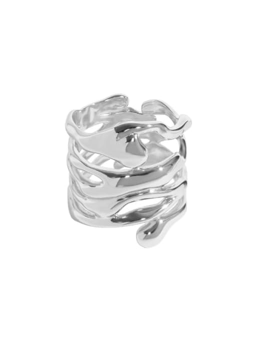 Platinum [14 adjustable] 925 Sterling Silver Hollow Irregular Vintage Stackable Ring